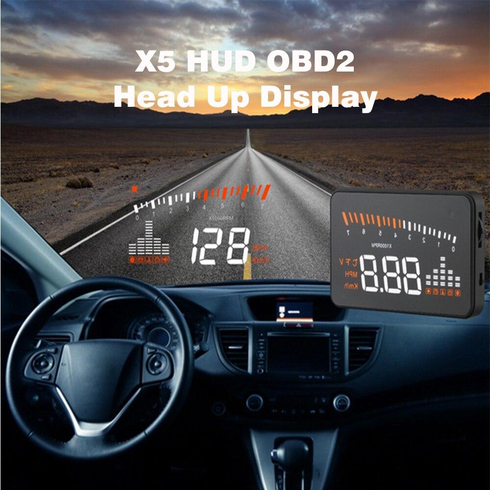 imágenes para X5 3 Pulgadas Coche Universal HUD Head Up Display OBD2 II Sobrevelocidad Advertencia Proyector Sistema Parabrisas Auto Voltaje de Alarma Electrónica
