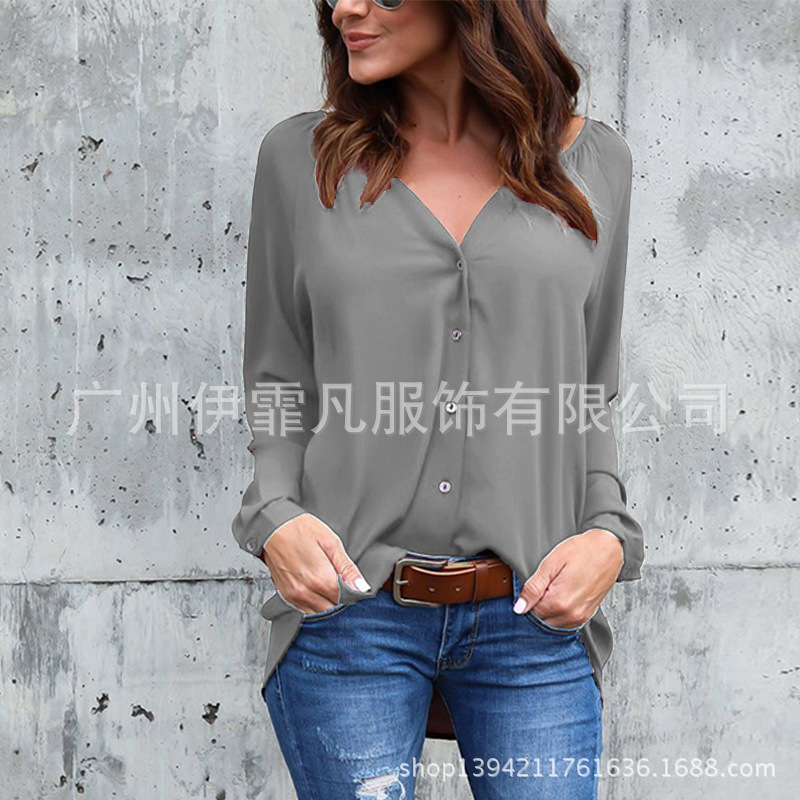 Cheap Price Blouse Women New Fashion 2019 Aliexpress V-neck Fold Button Long-sleeved Loose Chiffon Shirt Blusa Feminina Vestidos Eff6173 Women's Clothing
