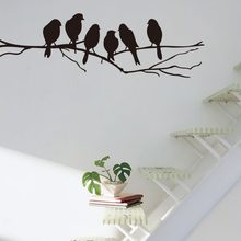 Black Birds Tree Branch DIY Vinyl Wall Stickers Removable Home Decoration Bedroom Wall Art Decal(China)