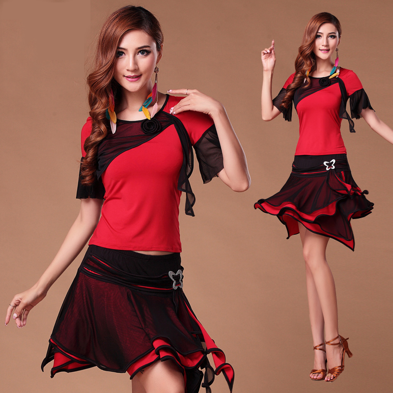 Picture of Fashion Gauze Short-Sleeve Latin Dance Clothes Set For Women\/Female\/Girl\/Lady Dancer, Square Dance Set Costume Training Dress