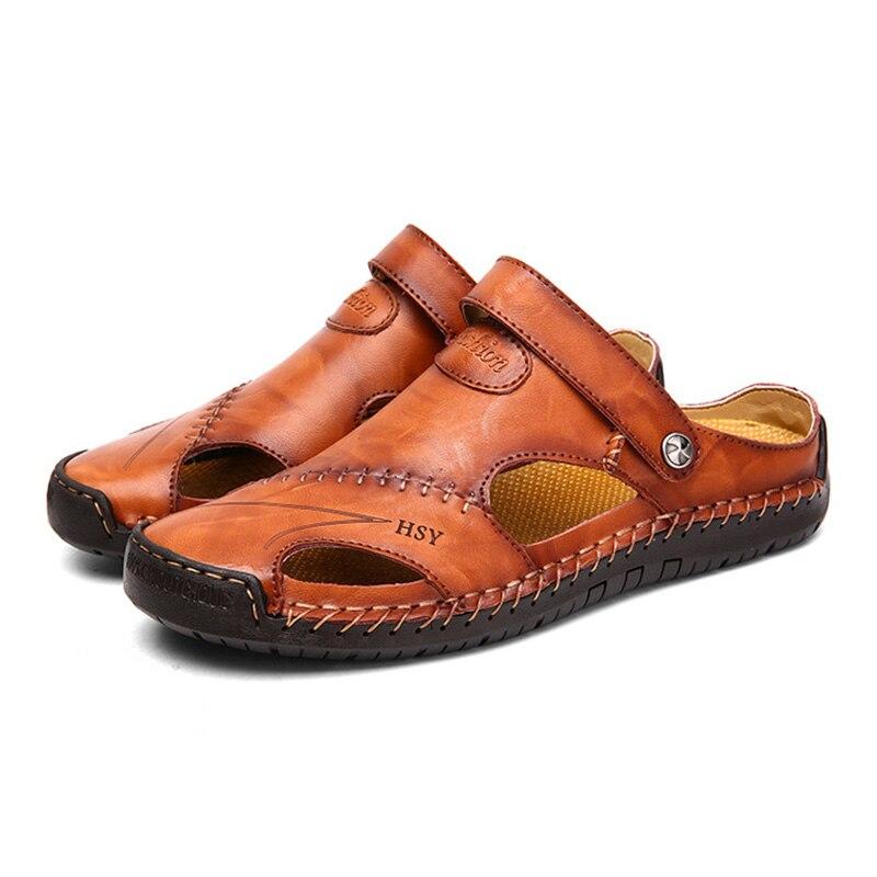 Merkmak Verão Oco Baotou Sandálias Flip Flop Para Couro Genuíno dos homens Casuais Respirável Tamanho Das Sapatas Dos Homens de Praia Mole 48 calçado