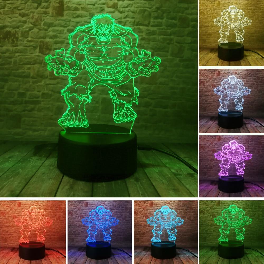 Marvels The Avengers Superhelten Creative 3D Hulk Nattlys Akryl Fargerik Gradient LED-lampe Skrivebord Bordlampe Guttunge gaver