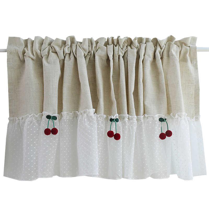 Cotton And Linen Short Curtains