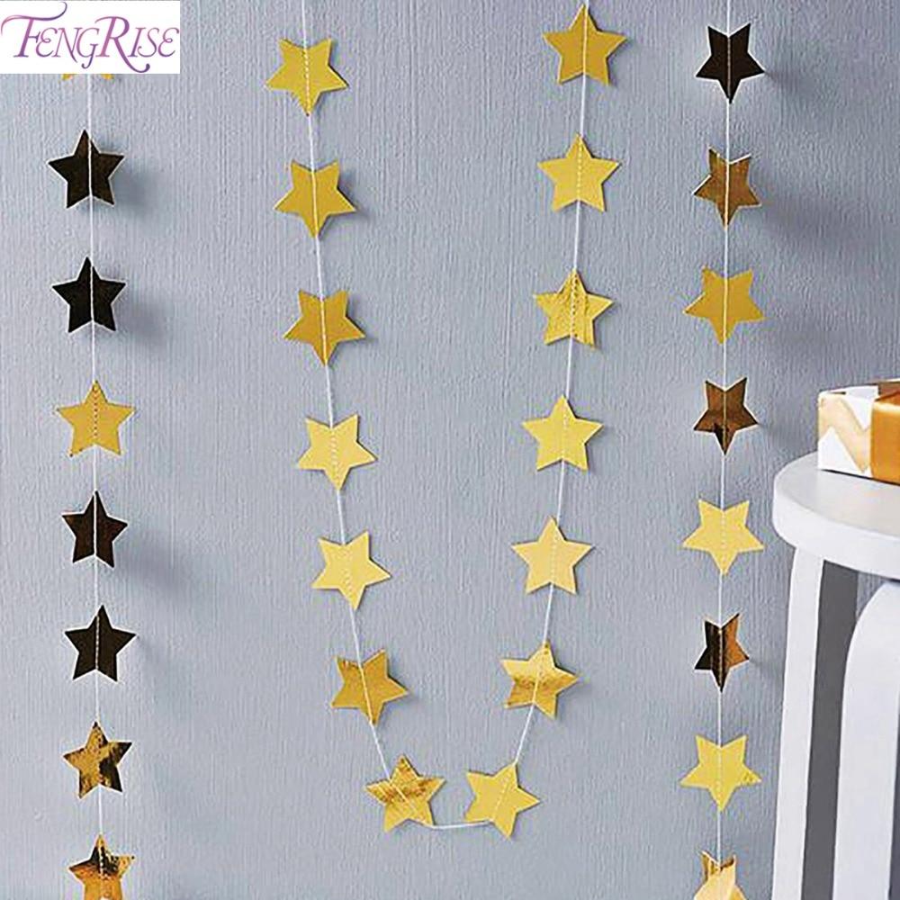 fengrise brillo estrella de papel guirnalda que cuelga la bandera decoracin de navidad fuentes del partido
