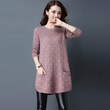 Arfreeker Casual Sweater Pullover For Women Long Round Neck Knitting Autumn black purple Casual Pullover Sweaters 2018 New