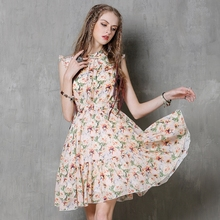 Vestidos Hepburn 2017 Boho New Summer Dress Cotton Linen Sleeveless Belted Flower Print Slim Beach Dresses Plus Size Vestidos
