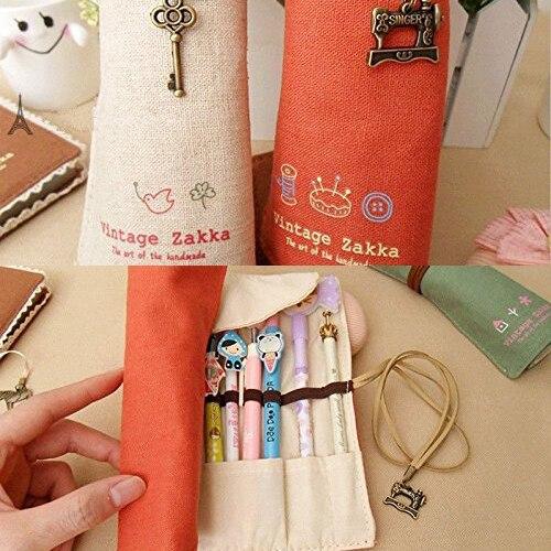 4 colors School Supplies Retro Volume Pencil Bag Canvas Make Up Cosmetic Pen Pencil Case Pouch Purse Bag for kids