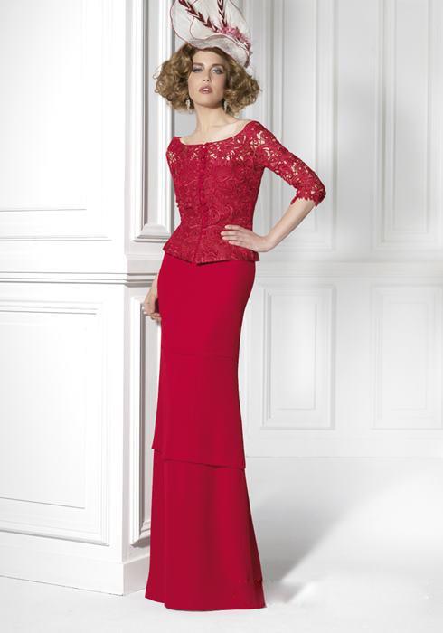 New Arrival Red Long Lace Chiffon Sheath Mother Of The Bride Dresses Floor-Length Madre Della Sposa Abiti Di Pizzo MBD24