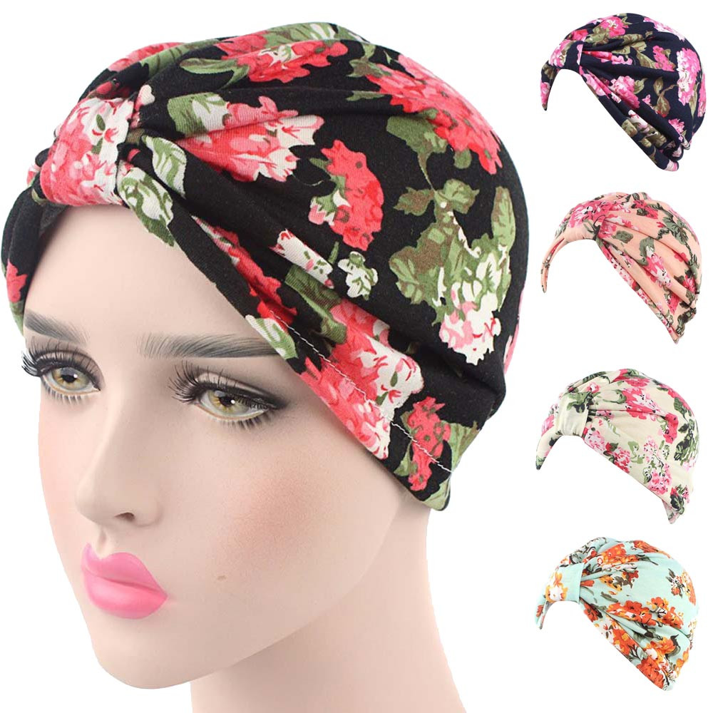 adf5c941f9902 winter hat Small Floral Printing India Cancer Chemo Hat Beanie Scarf Turban  Head Wrap Cap hats for women