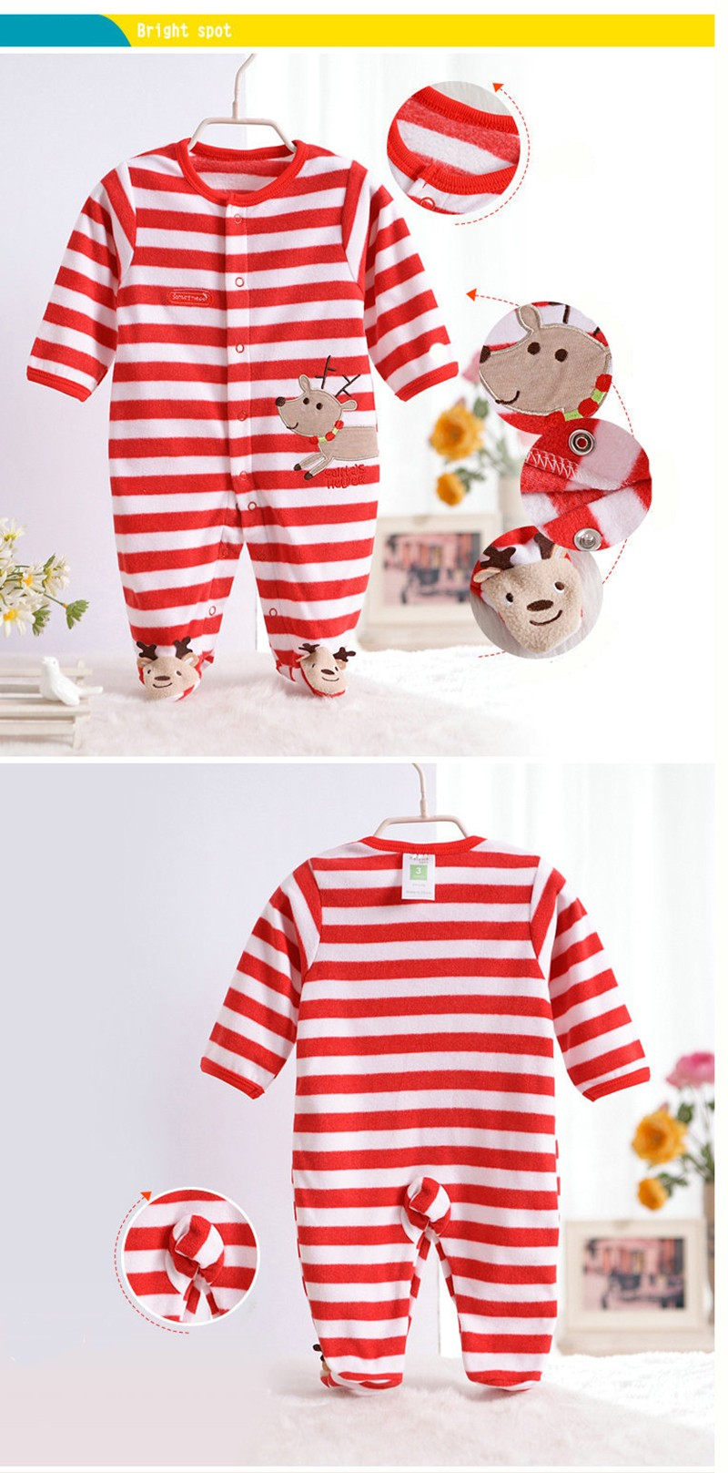 New Arrival Baby Footies Boys&Girls Jumpsuits Spring Autumn Clothes Warm Cotton Baby Footies Fleece Baby Clothing Free Shipping (4)