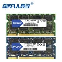 Binful 4 GB (2x2 GB) DDR2 2 GB 800 MHZ 667 MHZ 200pin Laptop Geheugen ram 2x Dual-channel PC2-6400 PC2-5300 Notebook SODIMM RAM 1.8 v