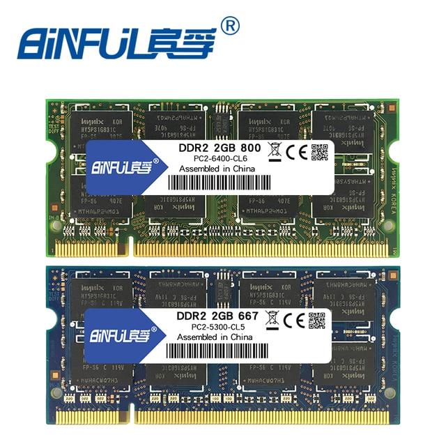 Binful 4 GB (2x2 GB) DDR2 2 GB 800 MHZ 667 MHZ 200pin Memória Portátil ram 2x Dual-channel Notebook PC2-5300 SODIMM PC2-6400 RAM 1.8 v
