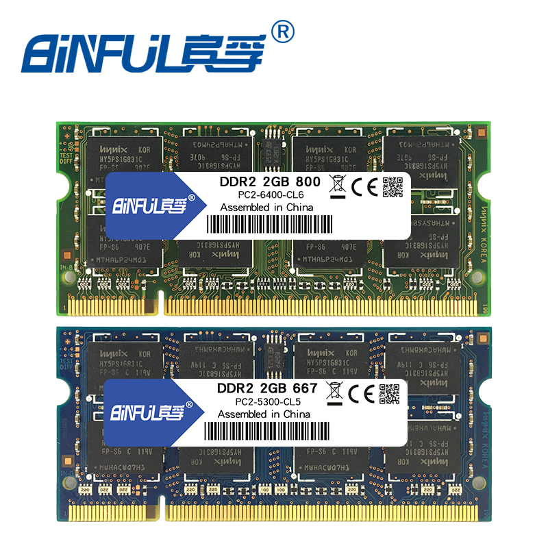 Binful 4GB (2x2GB) DDR2 2GB 800MHZ 667MHZ 200pin mémoire RAM pour ordinateur portable 2 x double canal PC2-6400 PC2-5300 Notebook SODIMM RAM 1.8v