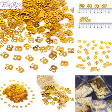 FENGRISE Gold Digitals Figures 30 40 50 60 Confetti Happy Birthday Party Wedding Anniversary Numbers Table Scatters Decorations