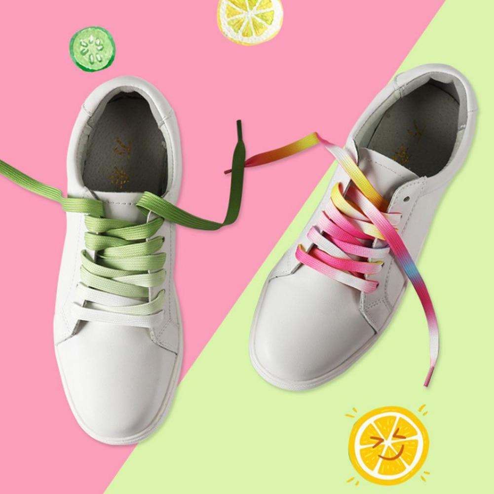 110cm 1Pair Rainbow Shoe Laces Colorful Gradient Print Flat Canvas Shoelaces Casual Chromatic Shoelaces