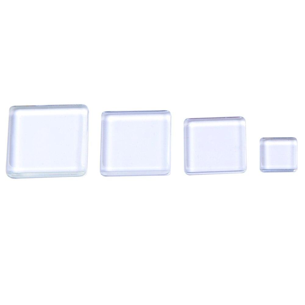 Cabochon 20pcs Square Transparent Clear Magnifying Glass Cabochons Settings Tile Seals