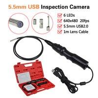 5.5ミリメートルのusb内視鏡6 leds検査スネークカメラボアスコープ+マグネット+フック+ミラー車診断送料無料