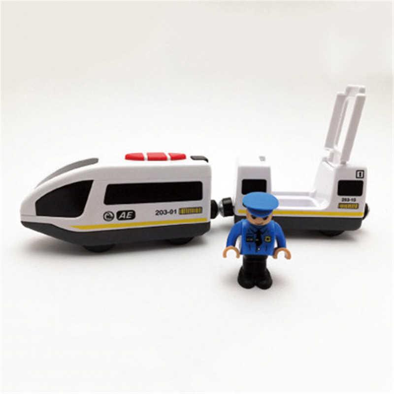 Игрушки для детей Дистанционное управление электрический игрушечный поезд Магнитный слот совместим с Brio деревянный трек автомобиль игрушка детский подарок