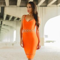 Strap Bandage Dress Sexy Lace up Hollow Out Night Club Pink Blue Yellow Orange Color Women Party Dresses