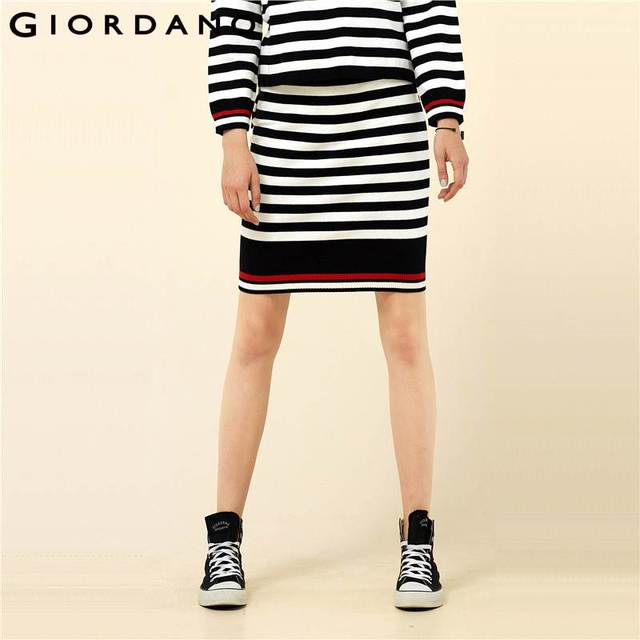 1d89323ec0d Giordano Women Skirt Color-blocking Stripe Saia Knitted Elasticated  Waistband Mid-rise Skirt Warm Casual Fashion Faldas