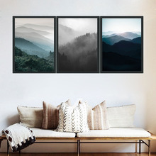 Nordic Decoration Forest Fog Lanscape Wall Art Canvas Poster And Print Canvas Painting Decorative Picture For Living Room Home