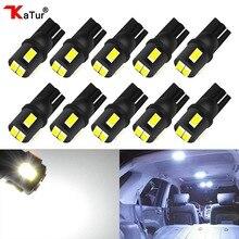 Katur 10Pcs T10 W5W Socket LED Bulbs For Car Interior Lighting 194 Bulb Dome Reading License Plate Lights Trunk Cargo Lamp White