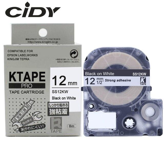 CIDY 1 pcs 12mm שחור על לבן SS12KW/LC-4WBN9 LC-4WBN LC 4WBN LC4WBN תואם תווית קלטת עבור kingjim מדפסת עבור LW300 LW400