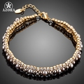 AZORA Gold Plated 2 Rows Micro CZ Stones With Beads Bracelet for Women TS0126