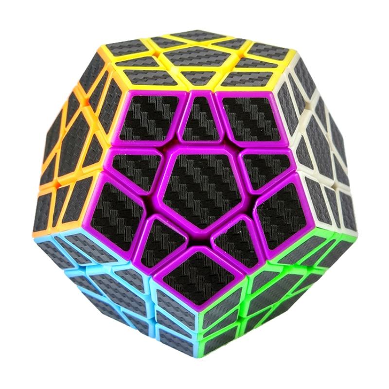 Νέα φθορισμού Magic Cube Αυτοκόλλητα ινών άνθρακα Ομαλή Dodecahedron Puzzle Cube Ταχύτητα Cubo Εκπαιδευτικά παιχνίδια δώρων (S5