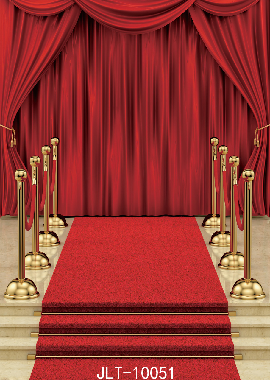 Sjoloon Red Carpet And Curtain Background Vinyl Decoration