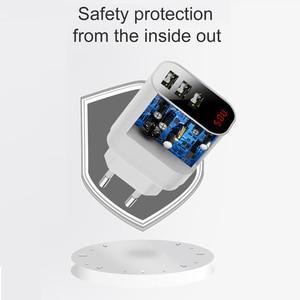 Image 3 - Baseus светодиодный цифровой 3 порта USB зарядное устройство ЕС вилка Мобильный телефон Быстрая зарядка настенное зарядное устройство 3.4A макс для iPhone X 8 7 Samsung S9 S8