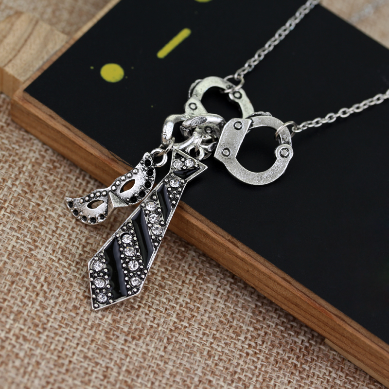 50 Fifty Shades of Grey Charm Necklace Handcuffs Masquerade Mask Tie