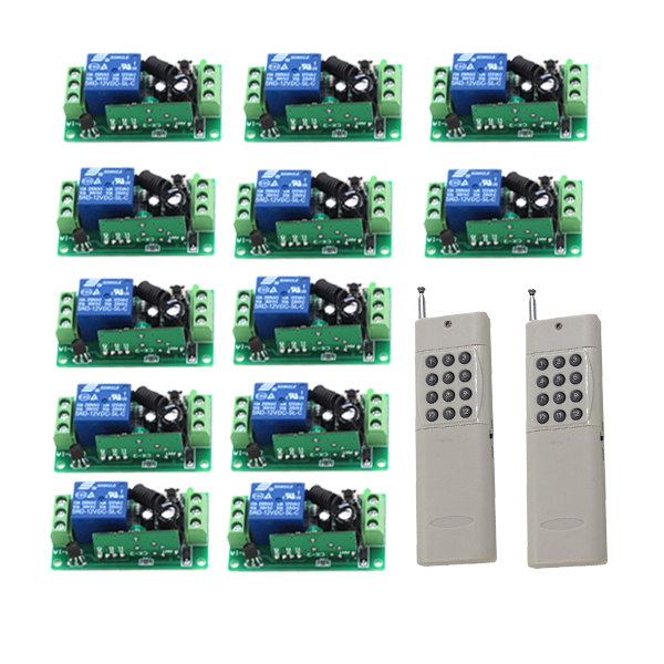 RF DC 12V 1000M 2X Transmitter 12X 1 Channel 10A Relays Smart Wireless Remote Control Switch Whit Transmitter SKU: 5438 high quality dc 12v 10a 1 channel wireless control rf 200m long range remote control 4pcs 315mhz switch sku 5367