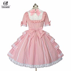 New-Style-Summer-Adult-Pink-Victorian-Princess-Lolita-Dress-Short-Sleeve-Sweet-Elegant-Lace-Dress