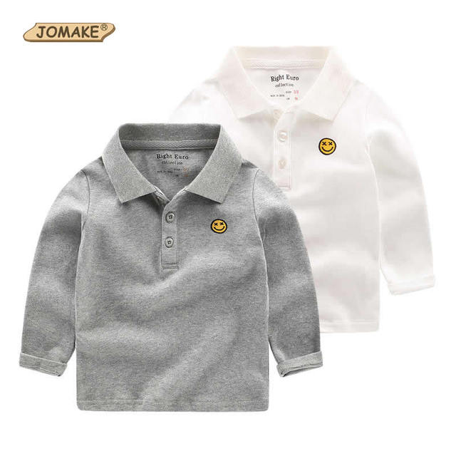 Children T-Shirts Kids Lapel Collar Long Sleeve Smile Face Embroidery T-Shirts For Boys New Brand Baby Boy Clothes 2017 Spring