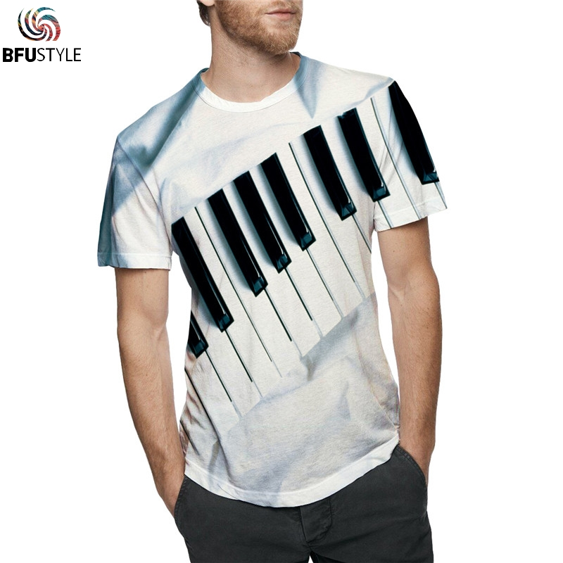 All Over Printed Piano 3D T Shirt T-shirts Men Women 2019 Fashion Hip Hop Streetwear Graphic Tops Summer Plus Size