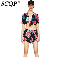 SCQP Sexy Printed Short Sleeve Women Crop Top Deep V Neck Tie Toyouth Summer Women T