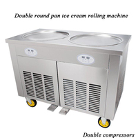 CE Double Ice Cream Cold Plate/Fried Ice Cream Machine Double Pan/ Fry Ice Cream Pan