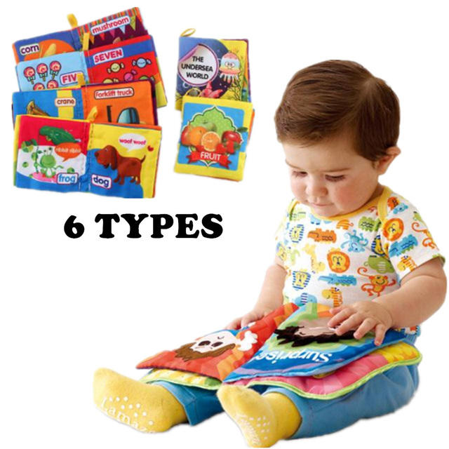 6 Types Baby Toys 0-12 Months Intelligence Development Cloth Book Soft Rattles Unfolding Activity Books Cute Animals Kids Toys