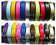 210mm*10mm Snake-skin PU Leather Wristband can put any 10mm letters charms on as gift(China)