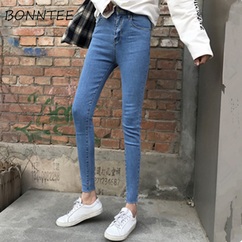 Jeans   Women Skinny Denim Pencil Pants Solid Chic Zipper All-match Pockets Womens Casual Simple Korean Style Elasticity Trousers