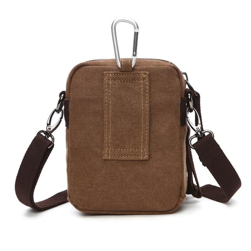 Men Canvas Small Messenger Bag Casual Handbags Crossbody Military Shoulder Bags brown