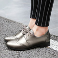 Plus Size 34-50 Spring Autumn Women Oxfords Brogue Flats Shoes Pointed Toe Luxury Brand Lace Up Preppy style Casual Shoes Woman