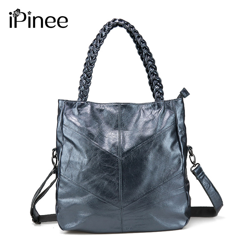iPinee Genuine Leather Women Handbag Cowhide Leather Patchwork Casual Tote Famous Brand Messenger Bag rdywbu brand genuine leather tote handbag 2017 women colourful flowers patchwork shoulder bag plaid messenger crossbody bag b293