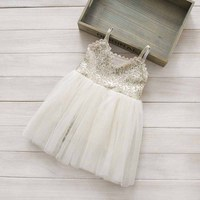 2015 New Summer Dress Toddler Girls Dress 2 7 Years Girls Sequined Vest Dress Pink
