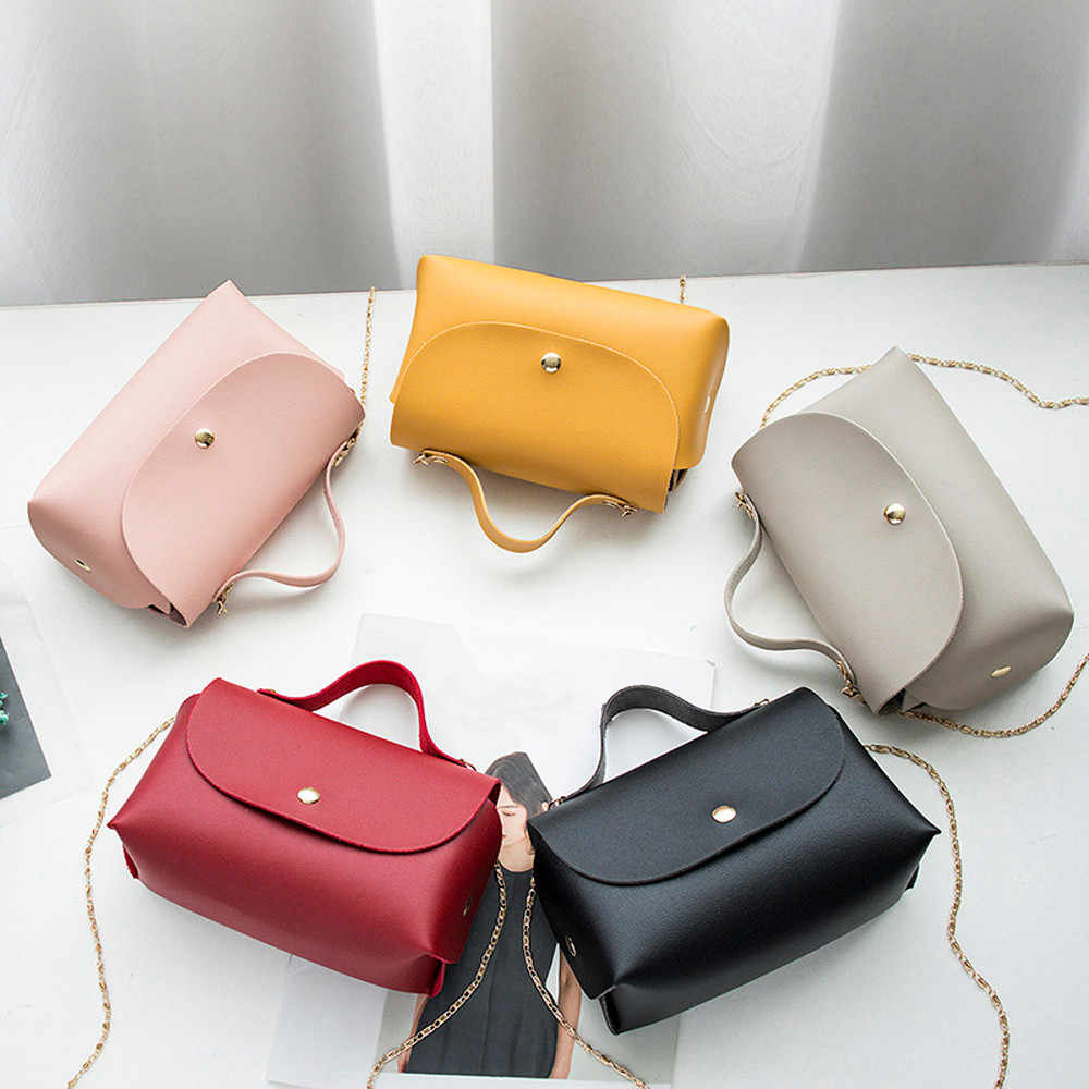ISHOWTIENDA shoulder bag elegant Women Fashion Pure Color Hasp Leather Messenger Shoulder Bag Chest Bag bolsa feminina