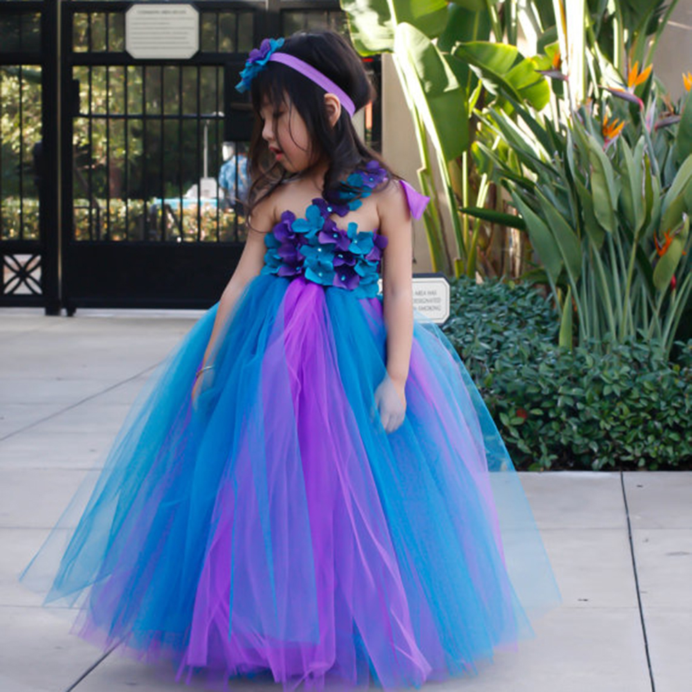 Peacock Pageants Girls Party Dress For Wedding Pretty Flower Girls