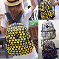 Teenagers Graffiti Canvas Satchel Emoji Printing Backpack Smiley Fangirl School Bags For Girls Boys Makeup Bag Kit