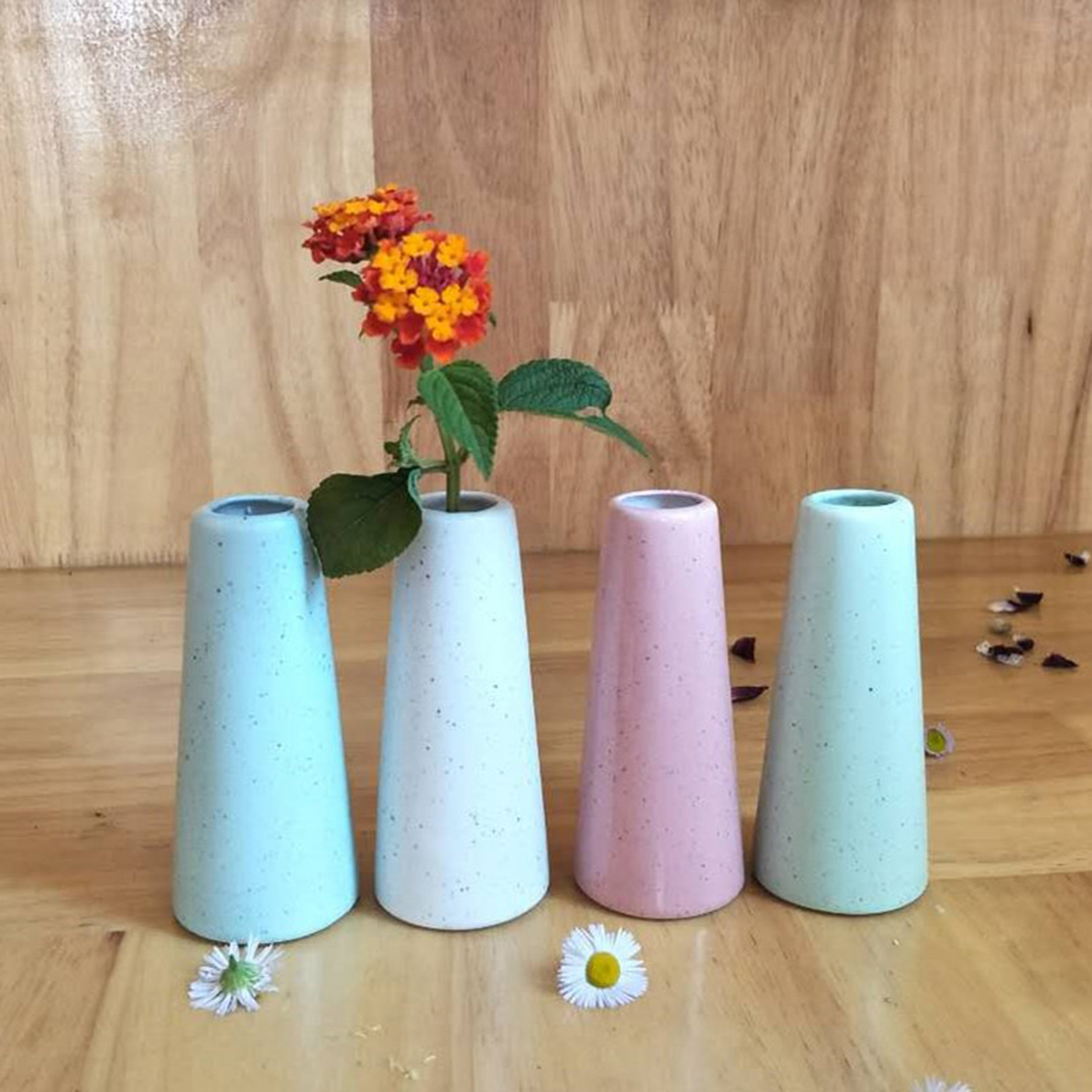 Цветок Вазы для дома мини Керамика настольная ваза для цветов дома номер исследование Прихожая офиса Свадебный декор розовый Skyblue белый