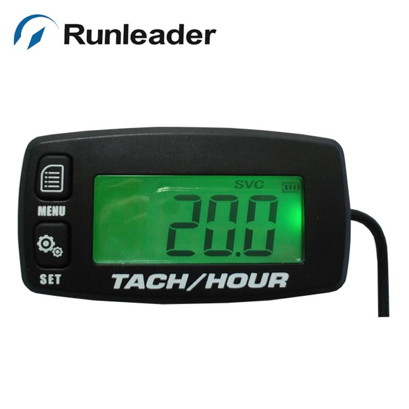 Digital Tachometer,RPM Meter,Inductive Hour Meter for 2 Stroke /& 4 Stroke Small Engine Replaceable Battery Waterproof Tachometer for Marine ATV Motorcycle UTV